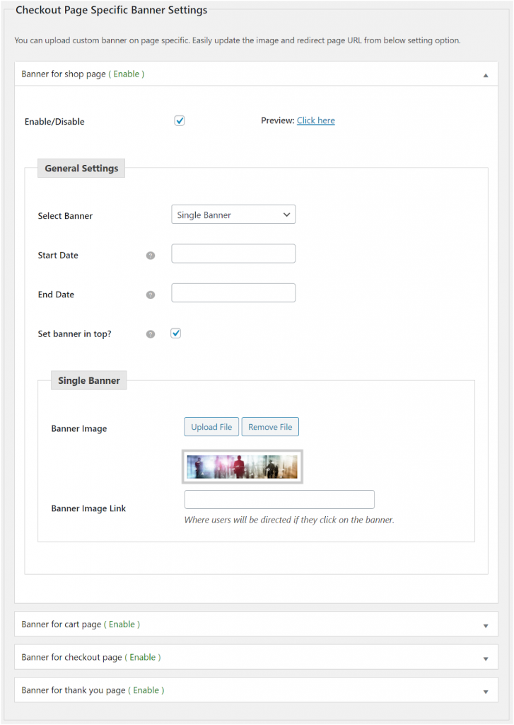Figure 2: Enabling Single Banner for your WooCommerce Store